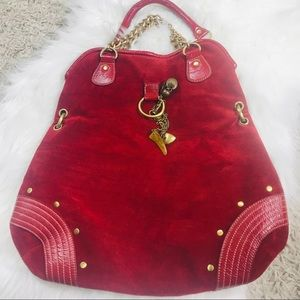 Melie Bianco red vegan suede bag with charms/chain